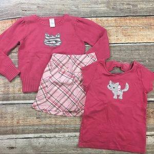 Gymboree   Pink Kitten Top, Sweater & Skirt (3pcs)